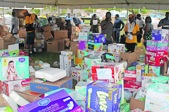 Supplies being distributed by NEMA at Independence Park in Freeport on Saturday. Photos: Vandyke Hepburn