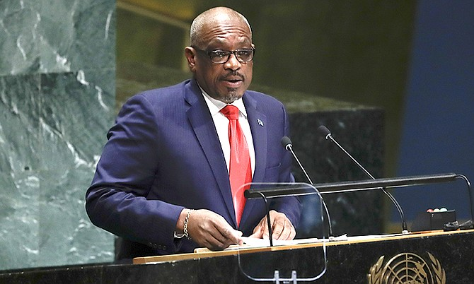 Prime Minister Dr Hubert Minnis addresses the 74th session of the United Nations General Assembly, Friday at the United Nations headquarters. (AP Photo/Frank Franklin II)
