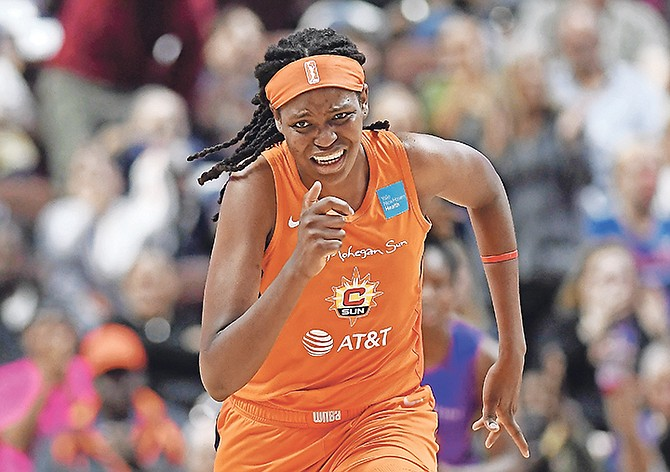 Sun's Jonquel Jones runs hard in the second half of a WNBA playoff game. Jones and Connecticut are set to go head-to-head against the Washington Mystics and the reigning league MVP - Elena Delle Donne - in game one of the WNBA Finals 3pm Sunday.  (AP Photo/Jessica Hill)