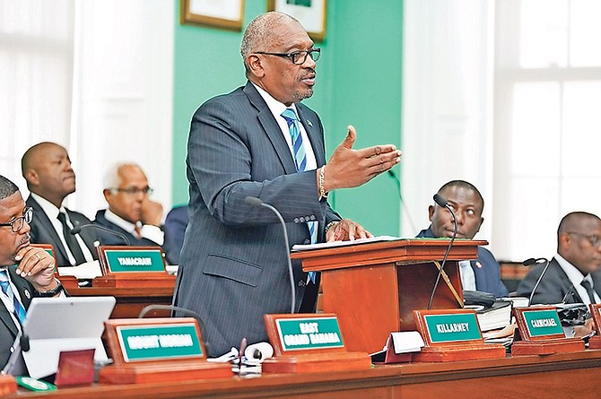Prime Minister Dr Hubert Minnis speaks in the House of Assembly on Wednesday. Photo: Terrel W. Carey Sr/Tribune Staff