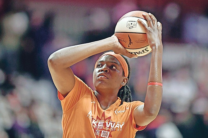 Connecticut Sun's Jonquel Jones warms up before Game 3 of basketball's WNBA Finals against the Washington Mystics, Sunday, in Uncasville, Conn.