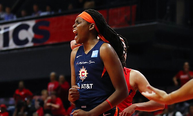 Connecticut Sun forward Jonquel Jones celebrates after her basket during the first half of Game 5 of basketball's WNBA Finals against the Washington Mystics, Thursday. (AP Photo/Alex Brandon)