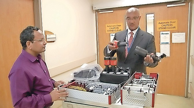 The donated equipment is demonstrated.