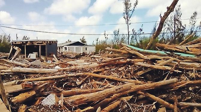 Debris in Queen's Cove.