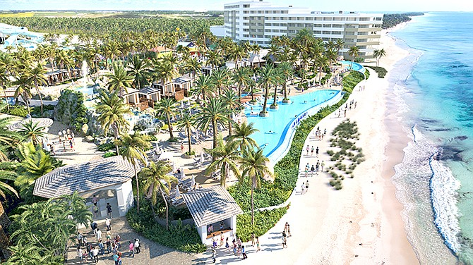 An artist's impression showing the resort pools in the proposed new Baha Mar development, Baha Mar Bay.