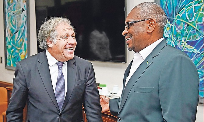 Secretary General Luis Almagro with Prime Minister Dr Hubert Minnis.  Photo: Terrel W. Carey Sr/Tribune staff
