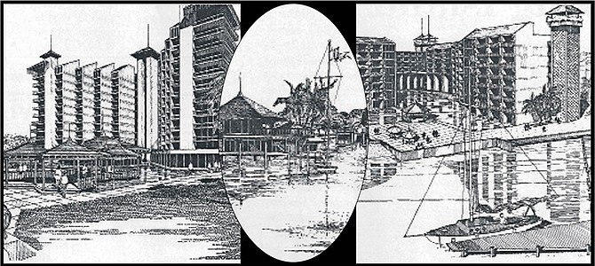 Left: The largest of the planned hotels, with 600 rooms; Centre: The world's first floating hotel; Right: Another 213-bedroomed hotel was also part of the project.