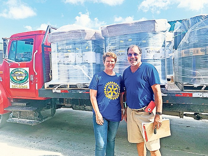 Lisabeth Knowles, area Governor of Rotary 6990 for Grand Bahama, and Rich Halpern, of Rotary International. Photos courtesy of Authentic PR