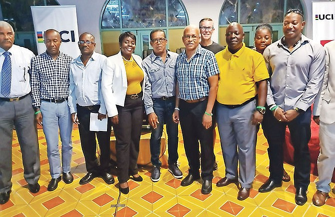 The Bahamas Cycling Federation's president Roy Colebrook is shown third from right with Caribbean executives.