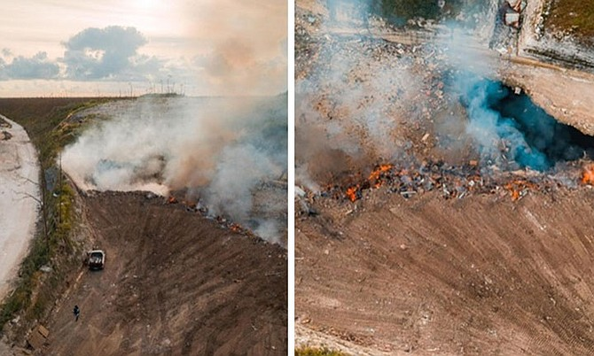 Pictures which appear to show areas on Abaco on fire.
