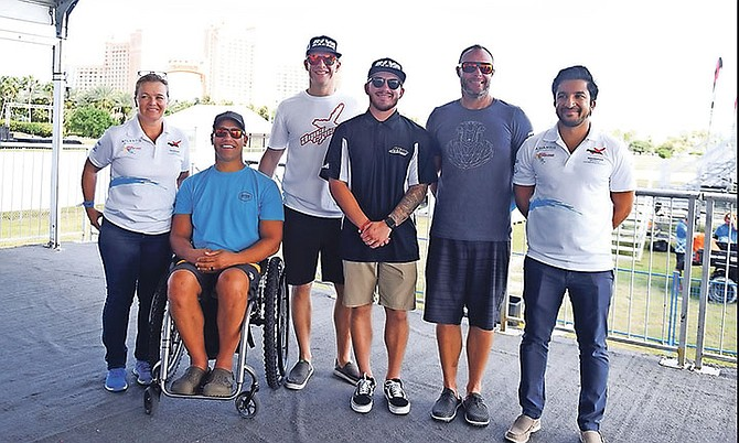 A press conference was held yesterday at the Atlantis resort on Paradise Island to officially kick off the P1 AquaX World Championship along with a site viewing of the event. Pictured (l-r) are Lisa Barsby, global head of P1 AquaX and former world champion; Anthony Radetic, Seadoo Performance ambassador; Tim Ducat, Seadoo racer; Christopher Landis, Seadoo racer; Brian Baldwin, world champion #1 Rank P1 Racer and Azam Rangoonwala, CEO of P1 AquaX. 