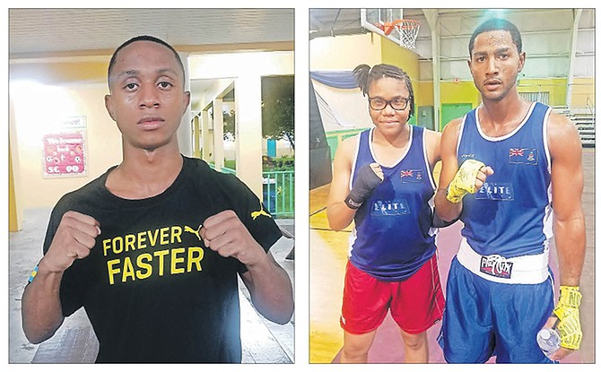 LEFT: Bahamian amateur boxer Vashan Johnson after his win. RIGHT: Cayman Islands' boxers Hepseba Angel and Jon-Mikol Rawkins after their victories.