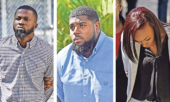 Brandon Bastian, Rondeno Ferguson and Jewel Bastian outside court. Photos: Shawn Hanna/Tribune staff