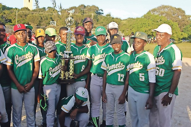 Queen's College Comets Junior Boys softball team with their trophy.