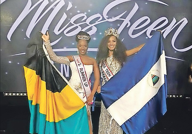 The Bahamas' Amani Stuart placed first runner-up to winner Miss Teen Nicaragura Alondra Leyton in Mexico City.