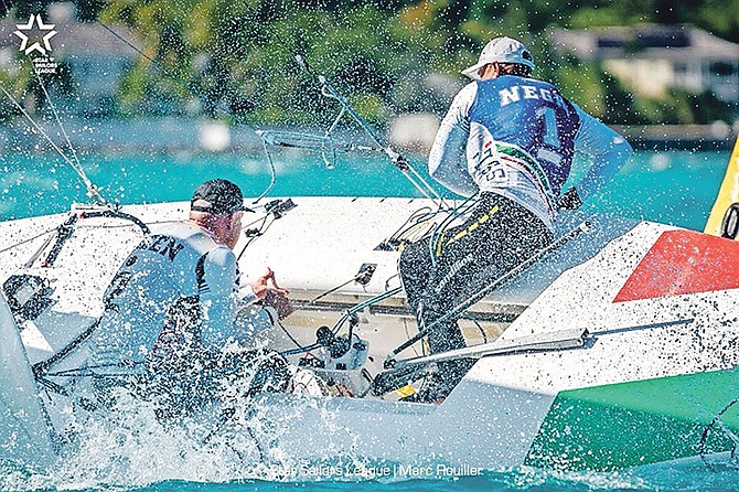 Diego Negri of Italy (captain) and Frithjof Kleen of Germany (crew) were just one point behind headed into yesterday's competition but surged atop the leaderboard after a trio of top five finishes in Montagu Bay. Photo: Marc Rouiller/Star Sailors League