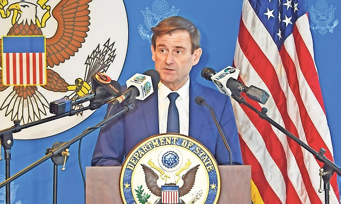 Under Secretary for Political Affairs David Hale is pictured speaking to media at the British Colonial Hilton. Photo: Shawn Hanna/Tribune staff