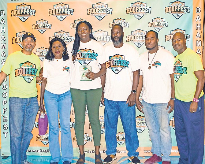 Waltiea Rolle, third from left, has been recognised as the first Bahamian to be drafted to play in the Women's National Basketball Association - the honour coming during the Bahamas Hoopfest.