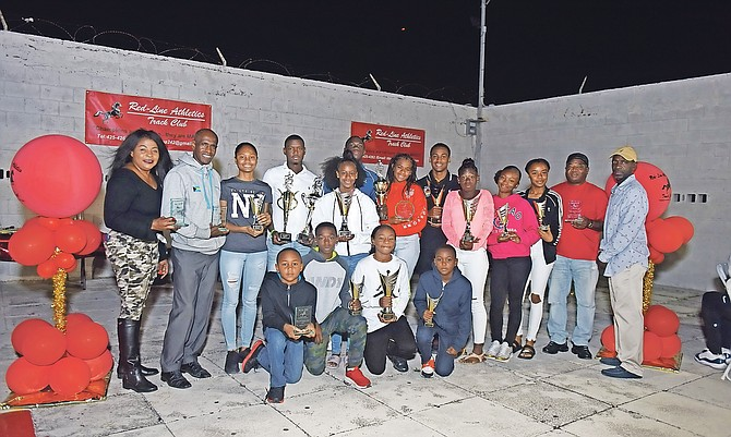 DIVISIONAL WINNERS with their awards at the Red Line Athletics Track Club awards presentation at SAC on Saturday night.