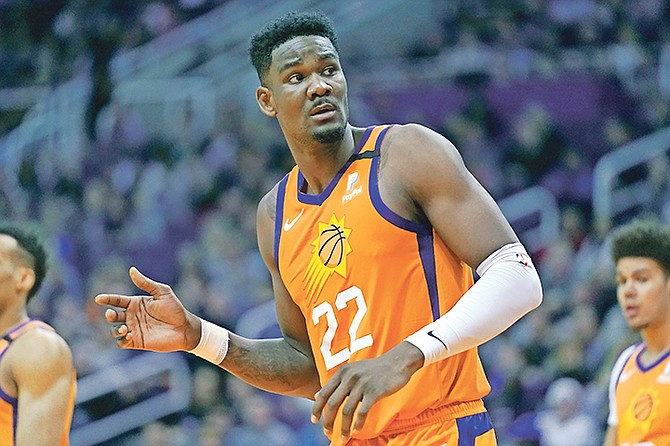 Suns centre Deandre Ayton (22) in the second half against the New York Knicks on Friday.  (AP Photo/Rick Scuteri)