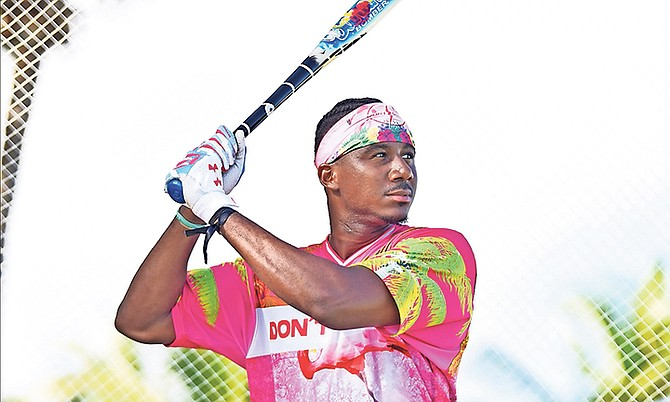 Lewis Brinson, of the USA, in action during the third edition of the Don't Blink/Charles Johnson Foundation Home Run Derby in Paradise at Montagu Bay.  Photo: Shawn Hanna/Tribune Staff