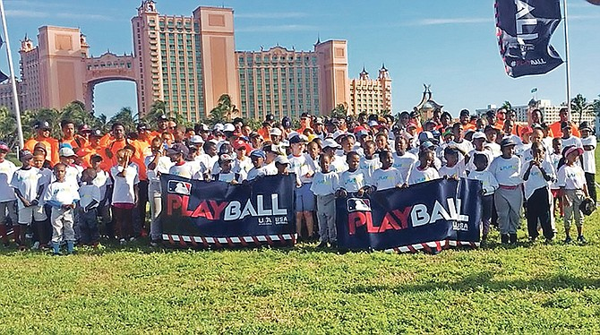 Participating players in the Home Run Derby in Paradise hosted an annual kids' clinic at the Atlantis resort in Paradise Harbour for aspiring student-athletes. Hundreds of clinic participants were drilled at various skill positions, including hitting, fielding, pitching and base running.