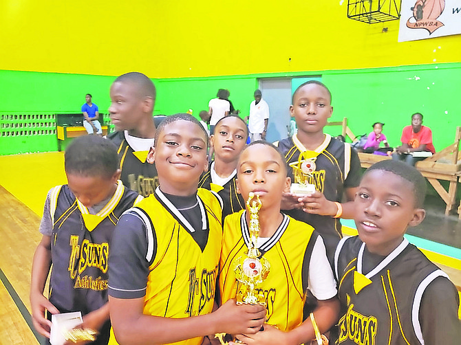 Temple Christian Suns' under-12 boys with their trophies