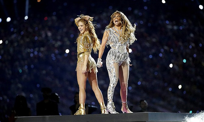 Shakira, left, and Jennifer Lopez perform during halftime of the NFL Super Bowl 54 football game between the Kansas City Chiefs and the San Francisco 49ers Sunday in Miami Gardens, Fla. (AP Photo/Patrick Semansky)