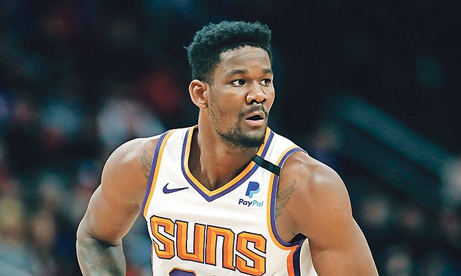 Phoenix Suns centre Deandre Ayton is seen during the first half of a game on February 5 in Detroit. On Saturday against the Nuggets, Ayton grabbed his 1,000th career rebound.  (AP Photo/Carlos Osorio)