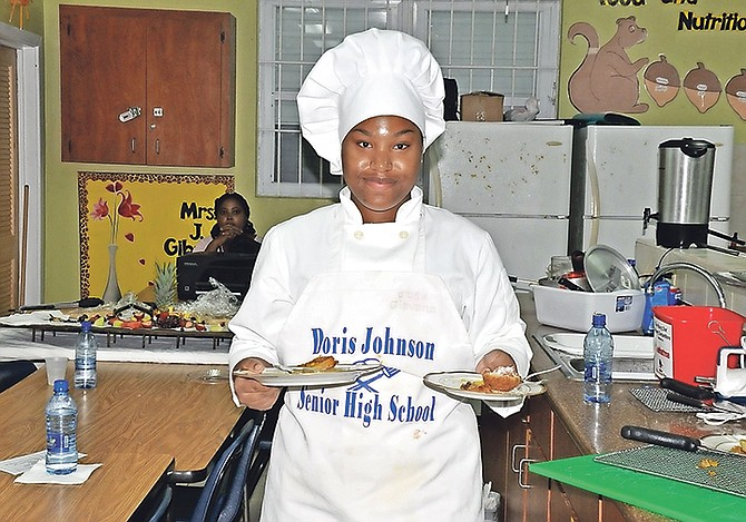Mia Adderley, formerly of Abaco and now a student of Doris Johnson Senior High School in Nassau, came out on top during the most recent phase of the 28th annual Young Chef Culinary Competition – New Providence district. (BIS Photo/Derek Smith)