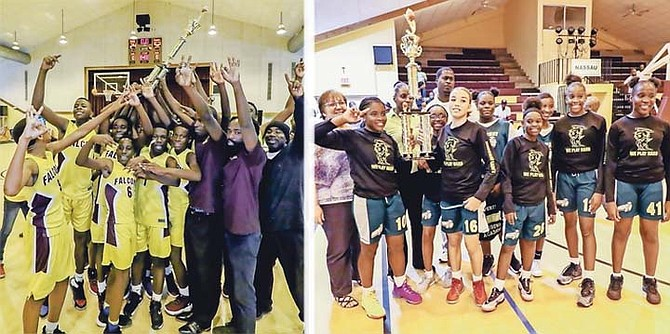 The Kingsway Academy Saints (right) won the junior girls' title, while the Jordan Prince Williams Falcons junior boys (left) made it back-to-back-to-back titles for their programme with a dominant 52-24 win over the SAC Big Red Machine. 