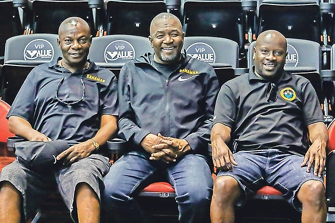 GO BAHAMAS: Shown (l-r) are men's national basketball team co-manager Rodney Wilson, BBF president Mario Bowleg and co-manager Elvardo Kemp.