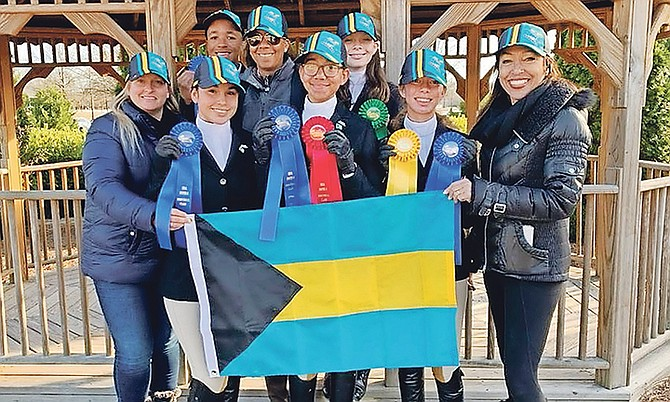 SHOWN (l-r) back row: Nicholas Astwood, Erika Adderley (national coach) and Elle O'Brien. Front row: Kimberley Johnson (national coach), Maya Tilberg, Mila Sands, Peyton Wong, Cathy Ramsingh-Pierre, president of Equestrian Bahamas, and team chef d'equipe.
