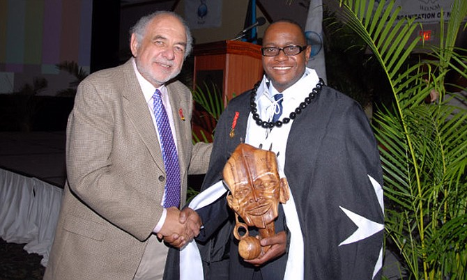Dr Kevin King, pioneer in natural medicine in The Bahamas, received gifts from around the world including one from Professor Viktor G Lizogub, Director, Ministry of Health, Ukraine.