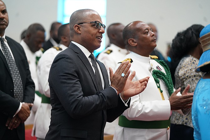 Minister of National Security Marvin Dames at the RBDF's annual church service.