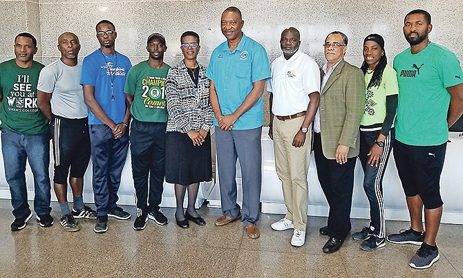 Pictured (l-r) at the BAISS press conference are Carl Campbell of Queen's College, Vandyke Bethel of Kingsway Academy, Valentine Thomas ofSt John's College, Everette Fraser of Queen's College, Dr. Nevillene Evans of St John's College, Curt Hollingsworth of St Anne's, Quintin Brennen of the NSA, Trevor Moss, meet director, Sandre Hobbs of Queen's College and Sherwaine Arthurs of St John's College.