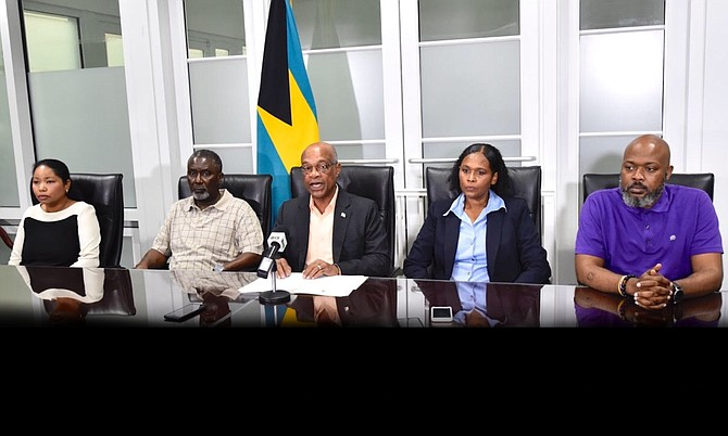 Acting Minister of Health Jeffrey Lloyd (centre) announced that a 61-year-old female resident of New Providence who does not have relevant travel history is the first confirmed person with COVID-19 in The Bahamas during a press conference at the Ministry of Health, Sunday. Also seated from left: Dr. Nikkah Forbes, Director of Infectious Diseases and Manager of the National AIDS Centre; Permanent Secretary, MOH, Marco Rolle; Chief Medical Officer, Dr. Pearl McMillan and Deputy Chief Medical Officer, Dr. Delon Brennen. (BIS Photos/Kemuel Stubbs)