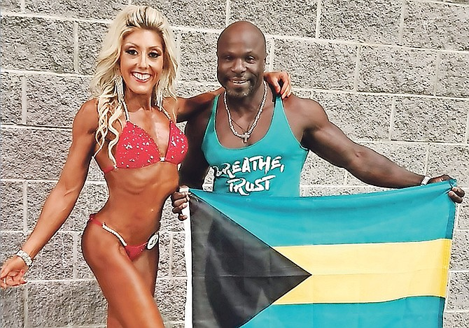 Italian born Serena Salius Decius-Norius, shown here with her husband Jimmy, made a successful debut as a bikini model at the NPC 2020 CJ Classic and Sunshine State Bodybuilding Bikini Physique Figure Fitness Classic in West Palm Beach, Florida, over the weekend.