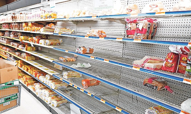 Sparse shelves in a New Providence store earlier this week. But there are still plenty of stocks nationwide.