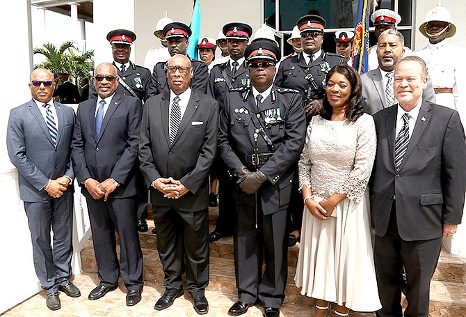 Paul Rolle is sworn in as the newest commissioner of the Royal Bahamas Police Force. Photo: Patrick Hanna/BIS
