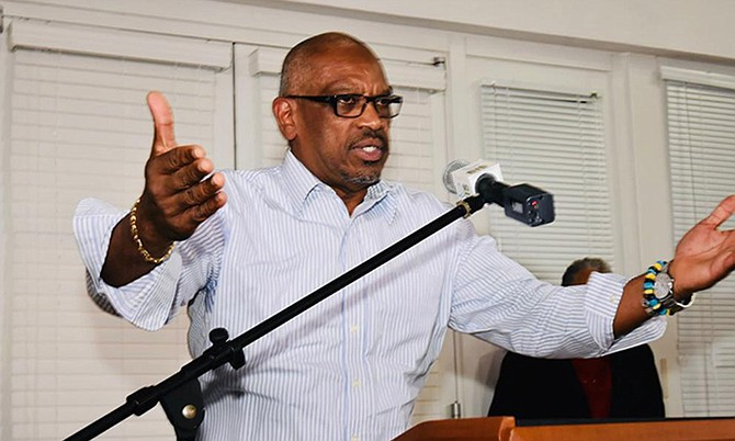 Prime Minister Dr Hubert Minnis speaks on Friday. (BIS Photo/Yontalay Bowe)