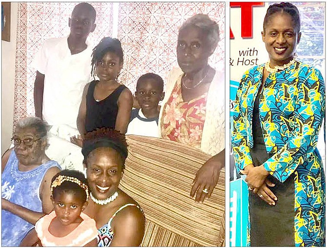 Rhonda with her children, mother Ruth, and grandmother, Mother Thelma; right: Rhonda Wright, principal of Akhepran International Academy.