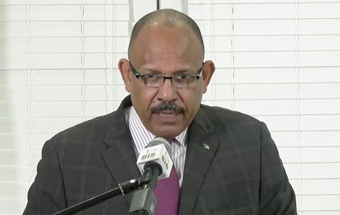 Minister of Health Dr Duane Sands speaks on Thursday.