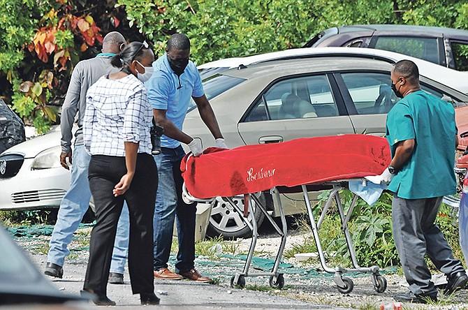 The scene of the fatal shooting in Grand Bahama yesterday. Photo: Vandyke Hepburn