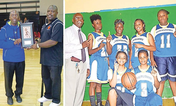 PASTOR DAVE ADAMS receives a Coach of the Tournament award from organiser Wilton Johnson, and with Cherubims senior girls, of Teleos.