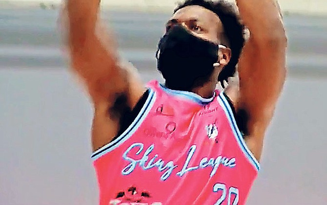 "Sacramento Kings sharpshooter ""Buddy"" Hield scored 45 points, including 13 made three pointers, to lead his ""Pink Parrot"" team to an 82-72 win in the Skinz League Tournament at the Hive Sports Complex in Edmond, Oklahoma."