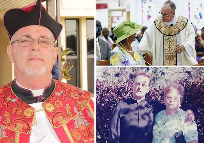"""This month, """"Father Scott"""" celebrates 35 years as a priest. Top right, talking to former Governor General Dame Marguerite Pindling in 2015 on the 30th anniversary of him becoming a priest. Above right, as assistant priest at St Matthews in 2000."""