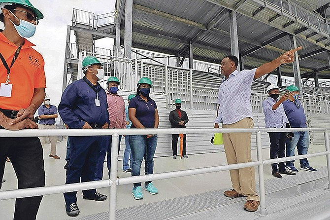 MINISTER of Youth, Sports and Culture Lanisha Rolle and a delegation from her ministry visit the Andre Rodgers National Stadium site on June 12. Photo: Eric Rose/BIS
