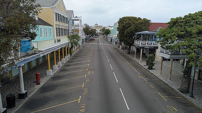 Downtown Nassau pictured during the COVID-19 lockdown.