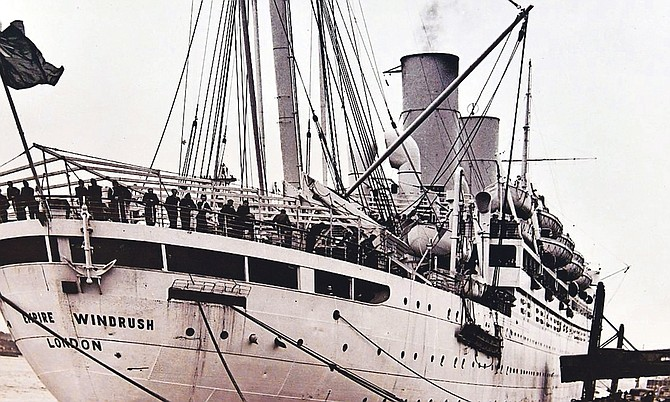 The Empire Windrush arriving at Tilbury Docks in London on June 22, 1948.